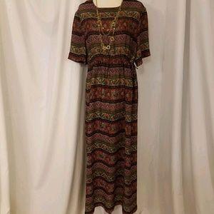 women's sz 14 pattern striped sheer chiffon dress